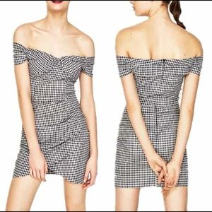 ZARA off the shoulder black and white plaid dress